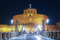 Άγγελος Castle Castel Sant Angelo Αγίου και άγγελος Ponte Sant γεφυρών, Ρώμη, Ιταλία Στοκ Φωτογραφίες