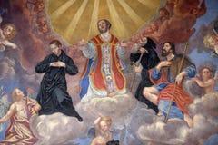 Άγιοι, νωπογραφία στη φραντσησθανή εκκλησία Annunciation στο Λουμπλιάνα Στοκ φωτογραφίες με δικαίωμα ελεύθερης χρήσης