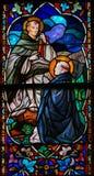 Άγιοι Dominic και Thomas Aquinas - λεκιασμένο γυαλί Στοκ Εικόνες