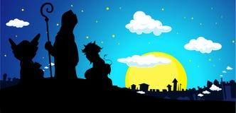 Άγιος Βασίλης, διάβολος και διάνυσμα Townscape εμβλημάτων σκιαγραφιών αγγέλου ελεύθερη απεικόνιση δικαιώματος