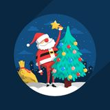 Άγιος Βασίλης διακοσμεί με το χριστουγεννιάτικο δέντρο παιχνιδιών διανυσματική απεικόνιση