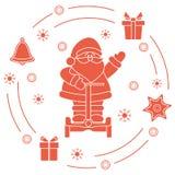 Άγιος Βασίλης, δώρα, κουδούνι, μελόψωμο διανυσματική απεικόνιση