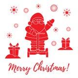 Άγιος Βασίλης, δώρα, snowflakes ελεύθερη απεικόνιση δικαιώματος
