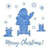 Άγιος Βασίλης, δώρα, snowflakes απεικόνιση αποθεμάτων