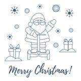 Άγιος Βασίλης, δώρα, snowflakes διανυσματική απεικόνιση