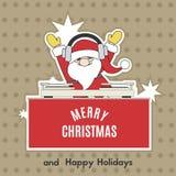 Άγιος Βασίλης είναι ένα DJ στη γιορτή Χριστουγέννων επίσης corel σύρετε το διάνυσμα απεικόνισης απεικόνιση αποθεμάτων