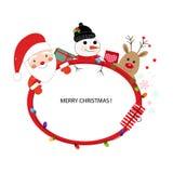 Άγιος Βασίλης, ελάφια και άτομο χιονιού Καλή χρονιά και πλαίσιο Χαρούμενα Χριστούγεννας Στοκ εικόνα με δικαίωμα ελεύθερης χρήσης