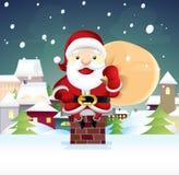 Άγιος Βασίλης κάθεται σε μια καπνοδόχο Διανυσματική απεικόνιση