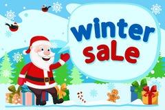 Άγιος Βασίλης κάθεται στα κιβώτια δώρων και παρουσιάζει χέρι του στην επιγραφή Χειμερινές πωλήσεις απεικόνιση αποθεμάτων