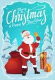 Άγιος Βασίλης, κάλαντα και δώρα, χιονώδες δάσος ελεύθερη απεικόνιση δικαιώματος