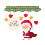 Άγιος Βασίλης και γιρλάντα με το χαρακτήρα ειδώλων σφαιρών Χριστουγέννων απεικόνιση αποθεμάτων