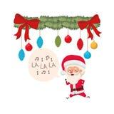 Άγιος Βασίλης και γιρλάντα με το χαρακτήρα ειδώλων σφαιρών Χριστουγέννων διανυσματική απεικόνιση