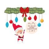 Άγιος Βασίλης και γιρλάντα με το χαρακτήρα ειδώλων σφαιρών Χριστουγέννων ελεύθερη απεικόνιση δικαιώματος