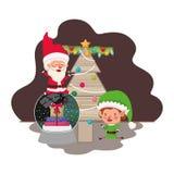 Άγιος Βασίλης και νεράιδα με το χριστουγεννιάτικο δέντρο απεικόνιση αποθεμάτων