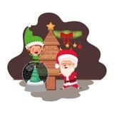Άγιος Βασίλης και νεράιδα με το χριστουγεννιάτικο δέντρο διανυσματική απεικόνιση