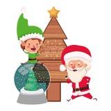 Άγιος Βασίλης και νεράιδα με το χριστουγεννιάτικο δέντρο ελεύθερη απεικόνιση δικαιώματος