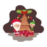 Άγιος Βασίλης και νεράιδα με το χριστουγεννιάτικο δέντρο και τα δώρα απεικόνιση αποθεμάτων