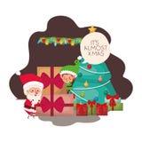 Άγιος Βασίλης και νεράιδα με το χριστουγεννιάτικο δέντρο και τα δώρα ελεύθερη απεικόνιση δικαιώματος