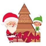 Άγιος Βασίλης και νεράιδα με το χριστουγεννιάτικο δέντρο και τα δώρα διανυσματική απεικόνιση