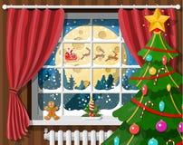 Άγιος Βασίλης και ο τάρανδός του στο παράθυρο ελεύθερη απεικόνιση δικαιώματος