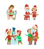 Άγιος Βασίλης και παιδιά αρωγών στις χειμερινές διακοπές διανυσματική απεικόνιση