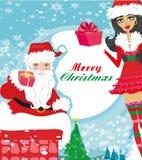 Άγιος Βασίλης και όμορφη γυναίκα διανυσματική απεικόνιση