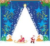 Άγιος Βασίλης και όμορφη γυναίκα ελεύθερη απεικόνιση δικαιώματος
