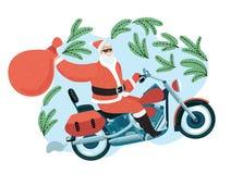 Άγιος Βασίλης με έναν σάκο δώρων που οδηγά μια μοτοσικλέτα ελεύθερη απεικόνιση δικαιώματος