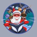 Άγιος Βασίλης με ένα ελάφι σε ένα όχημα για το χιόνι ελεύθερη απεικόνιση δικαιώματος