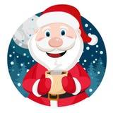 Άγιος Βασίλης με ένα φλυτζάνι στο χέρι του ελεύθερη απεικόνιση δικαιώματος