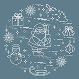 Άγιος Βασίλης με παρουσιάζει και άλλο νέο symbo έτους και Χριστουγέννων διανυσματική απεικόνιση