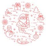 Άγιος Βασίλης με παρουσιάζει και άλλο νέο symbo έτους και Χριστουγέννων απεικόνιση αποθεμάτων