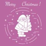 Άγιος Βασίλης με παρουσιάζει Νέα σύμβολα έτους και Χριστουγέννων απεικόνιση αποθεμάτων