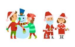 Άγιος Βασίλης με παρουσιάζει την τσάντα και το θηλυκό αρωγό απεικόνιση αποθεμάτων