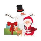 Άγιος Βασίλης με τα κιβώτια χιονανθρώπων και δώρων ελεύθερη απεικόνιση δικαιώματος