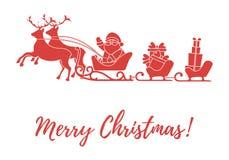 Άγιος Βασίλης με τα χριστουγεννιάτικα δώρα στα έλκηθρα με τους ταράνδους Νέα απεικόνιση έτους και Χριστουγέννων Σχέδιο για τη ευχ διανυσματική απεικόνιση