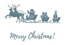 Άγιος Βασίλης με τα χριστουγεννιάτικα δώρα στα έλκηθρα με τους ταράνδους ν απεικόνιση αποθεμάτων