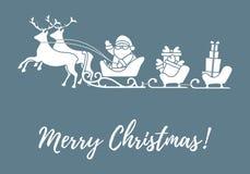 Άγιος Βασίλης με τα χριστουγεννιάτικα δώρα στα έλκηθρα με τους ταράνδους ν διανυσματική απεικόνιση