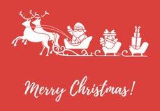 Άγιος Βασίλης με τα χριστουγεννιάτικα δώρα στα έλκηθρα με τους ταράνδους Νέα απεικόνιση έτους και Χριστουγέννων απεικόνιση αποθεμάτων