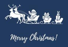 Άγιος Βασίλης με τα χριστουγεννιάτικα δώρα στα έλκηθρα με τους ταράνδους Νέα απεικόνιση έτους και Χριστουγέννων διανυσματική απεικόνιση