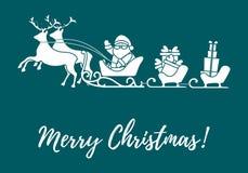 Άγιος Βασίλης με τα χριστουγεννιάτικα δώρα στα έλκηθρα με τους ταράνδους Νέα απεικόνιση έτους και Χριστουγέννων ελεύθερη απεικόνιση δικαιώματος