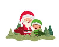 Άγιος Βασίλης με τη νεράιδα που κινείται με τα χριστουγεννιάτικα δέντρα διανυσματική απεικόνιση