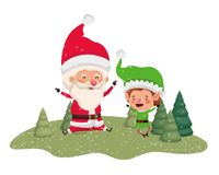 Άγιος Βασίλης με τη νεράιδα που κινείται με τα χριστουγεννιάτικα δέντρα ελεύθερη απεικόνιση δικαιώματος