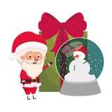 Άγιος Βασίλης με τη σφαίρα κρυστάλλου και το κιβώτιο δώρων απεικόνιση αποθεμάτων