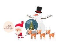 Άγιος Βασίλης με τη σφαίρα χιονανθρώπων και κρυστάλλου διανυσματική απεικόνιση