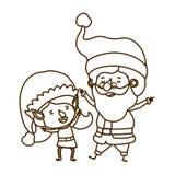 Άγιος Βασίλης με τον κινούμενο χαρακτήρα ειδώλων γυναικών νεραιδών απεικόνιση αποθεμάτων