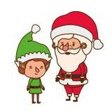 Άγιος Βασίλης με τον κινούμενο χαρακτήρα ειδώλων νεραιδών ελεύθερη απεικόνιση δικαιώματος