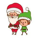 Άγιος Βασίλης με τον κινούμενο χαρακτήρα ειδώλων νεραιδών απεικόνιση αποθεμάτων