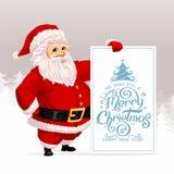 Άγιος Βασίλης με το έμβλημα χαιρετισμών Χριστουγέννων απεικόνιση αποθεμάτων