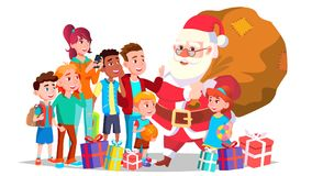 Άγιος Βασίλης με το διάνυσμα παιδιών Ευτυχή παιδιά οι διακοπές αγοριών βάζουν το χειμώνα χιονιού Χαρούμενα Χριστούγεννα και καλή  διανυσματική απεικόνιση